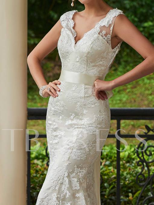 V-Neck Lace Zipper-Up Sheath Sweep Train Wedding Dress