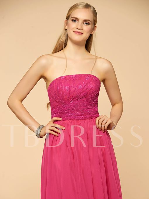Strapless Lace Asymmetry A-Line Bridesmaid Dress