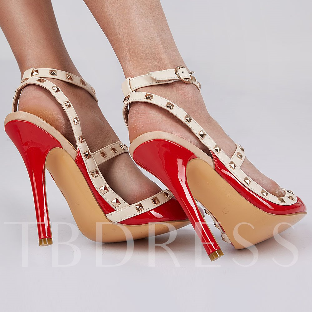 Pointed Toe Buckle Plain Stiletto Heel Rivet Women's Pumps