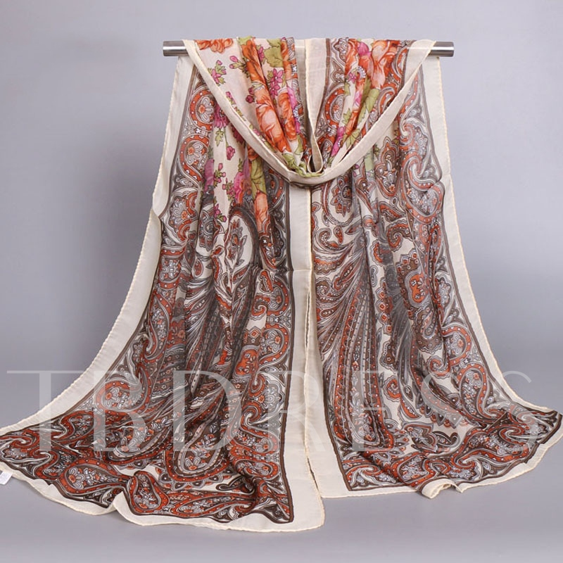 Graceful Paisley Printed Chiffon Scarf