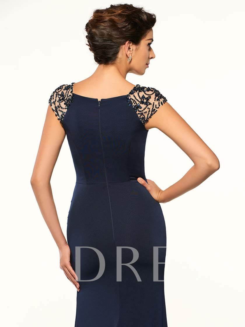 Beaded Cap Sleeve Sheath Mother of the Bride Dress