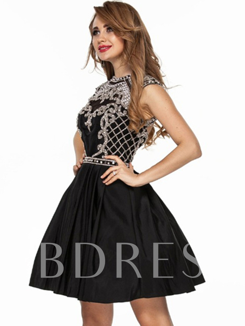 Jewel A-Line Beading Rhinestone Short Cocktail Dress