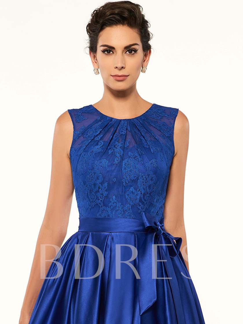 Button Lace High Low Mother Of The Bride Dress