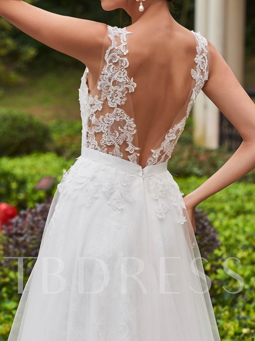 Scoop Neck Appliques A-Line Wedding Dress