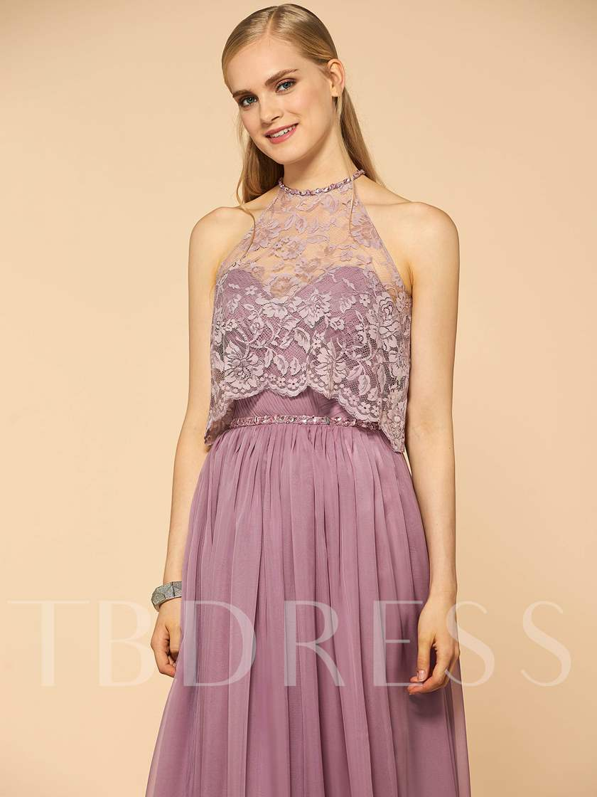 Ruched Beading Bridesmaid Dress with Lace Jacket