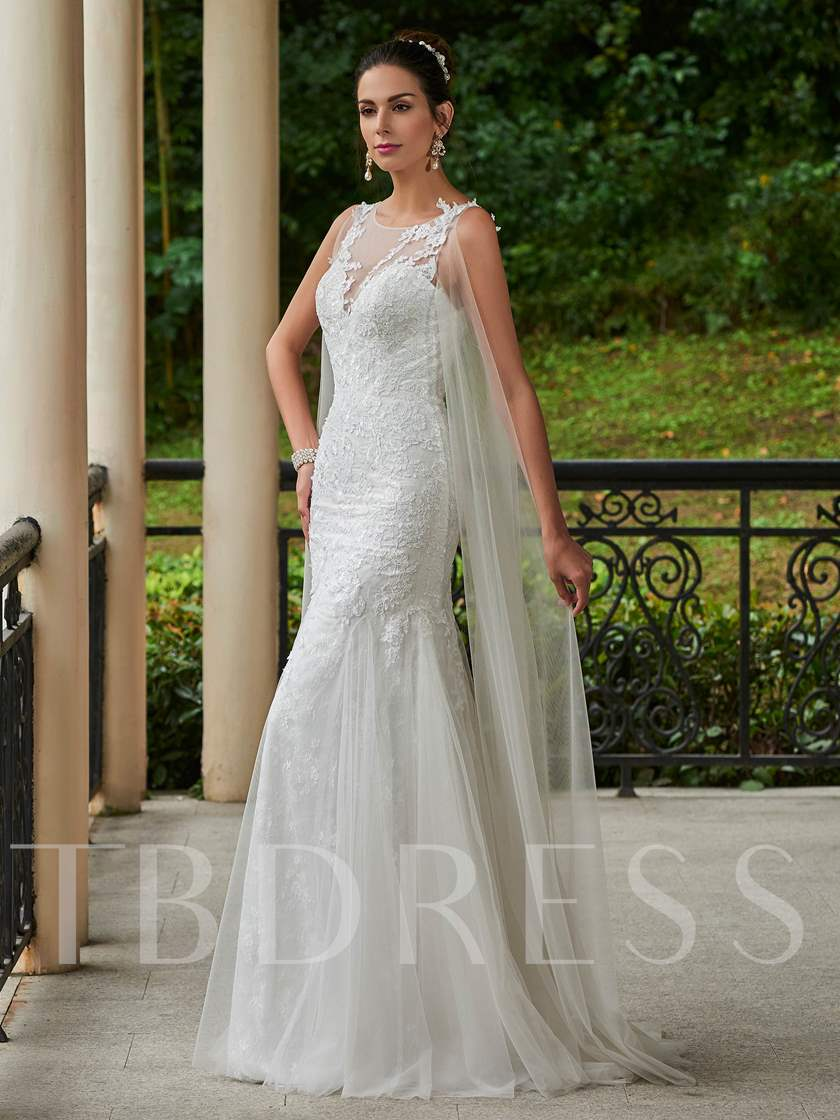 Scoop Neck Appliques Button Sheath Wedding Dress