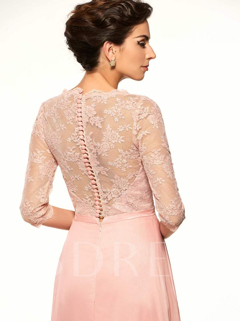 Button Lace Half Sleeves Mother Of The Bride Dress