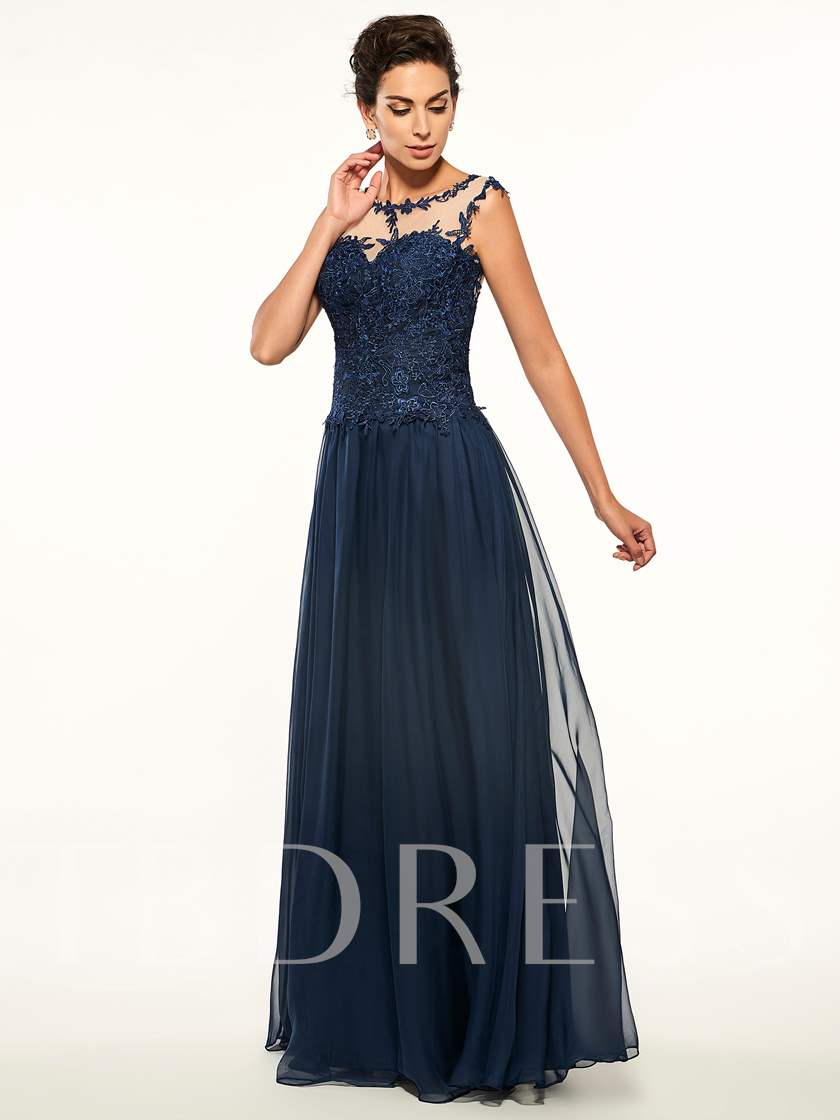 Scoop Appliques A Line Long Mother Of The Bride Dress