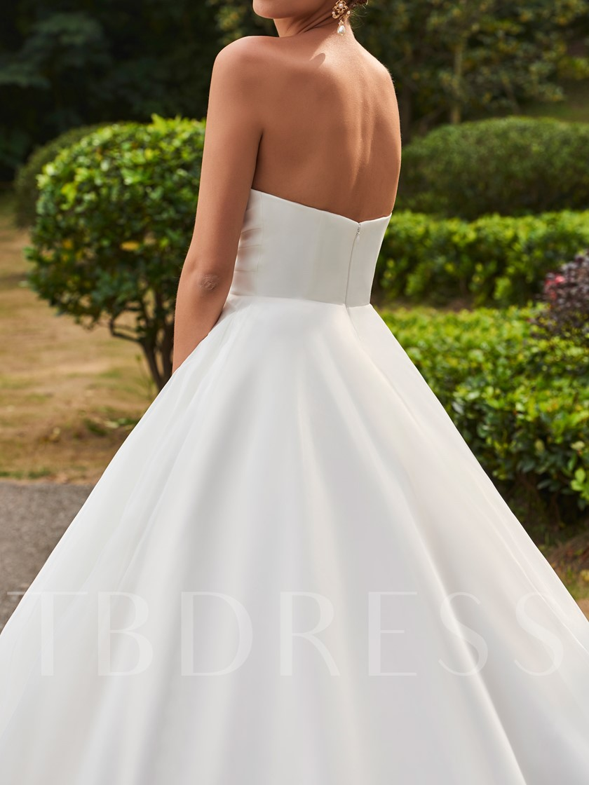 Ruched Zipper-Up Floor-Length Ball Gown Wedding Dress