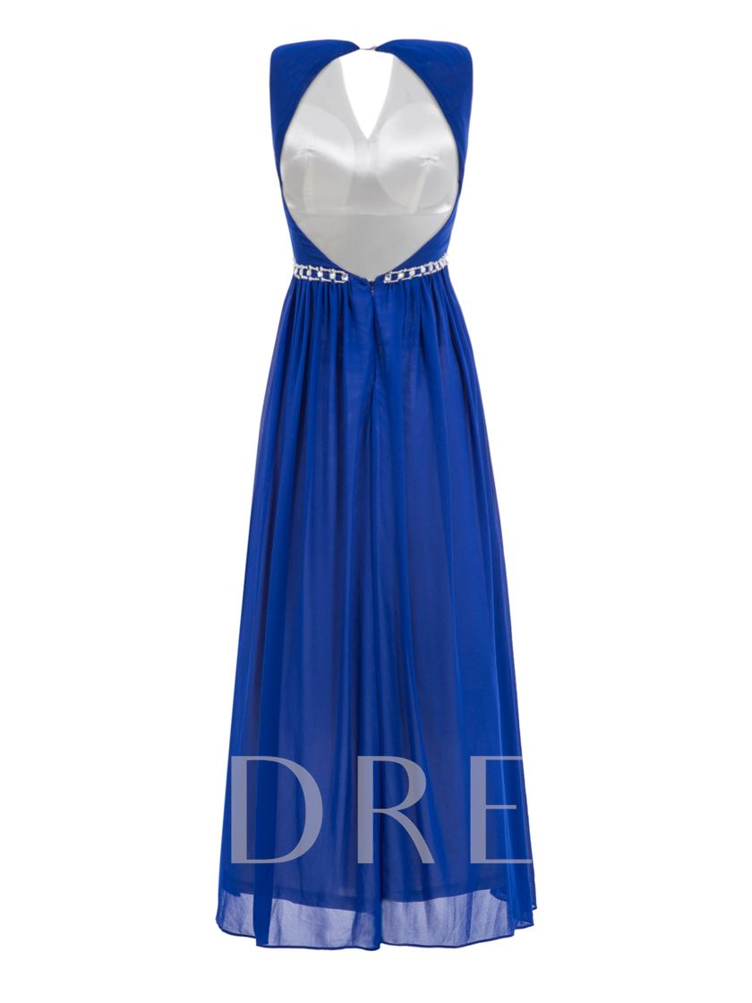A-Line V-Neck Beading Hollow Ankle-Length Evening Dress