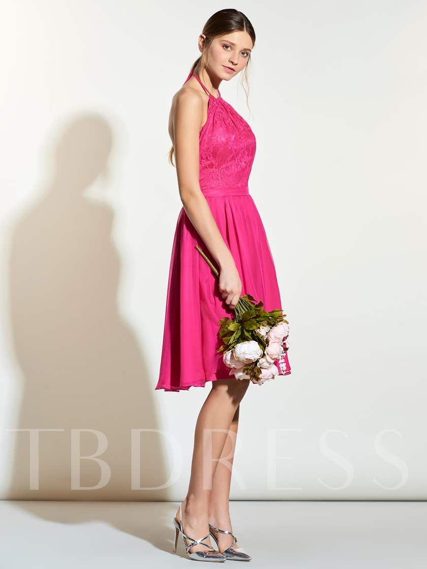 Halter Lace Open Back Short Bridesmaid Dress