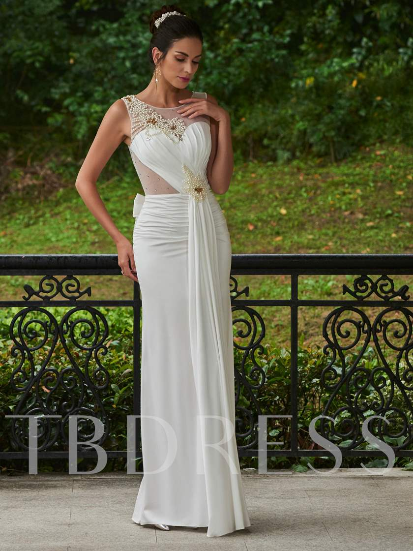 Jewel Neck Beading Pearls Back Trumpet/Mermaid Wedding Dress