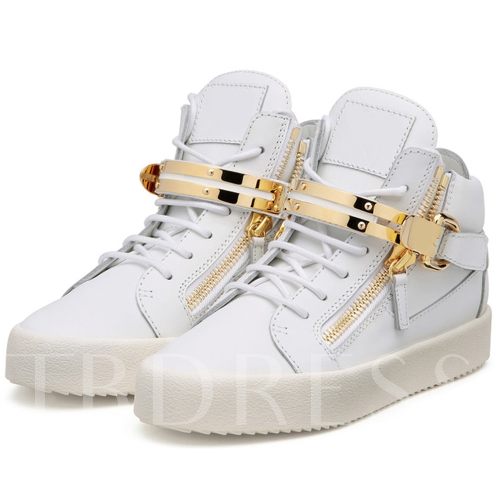 Round Toe High-Cut Upper Side Zipper Buckle Men's Sneakers
