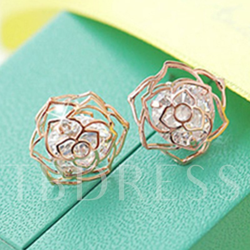 Shining Rose Hollow-Out Zircon Inlaid Stud Earrings