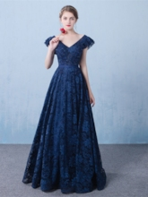 A-Line V-Neck Cap Sleeves Appliques Beading Lace Long Evening Dress