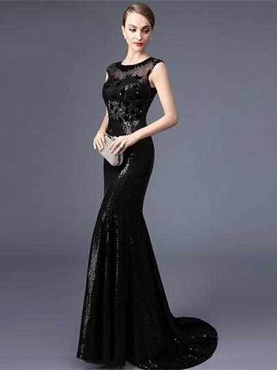 Scoop Trumpet Cap Sleeves Beading Lace Sequins Court Train Evening Dress