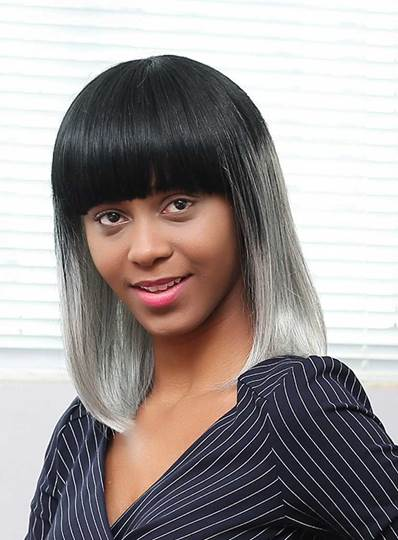 Medium Straight Gray Ombre Human Hair With Bangs Capless Wigs 16 Inches