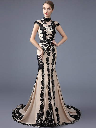 High Neck Trumpet Appliques Evening Dress
