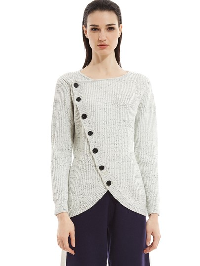 Button Decor Knitted Women's Sweater