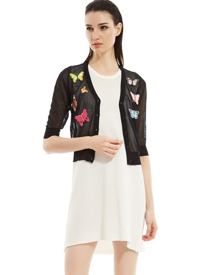 Butterfly Embroidery Single-Breasted Women's Cardigan