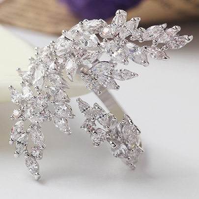 Rhinestone Leaves Design Opening Ring