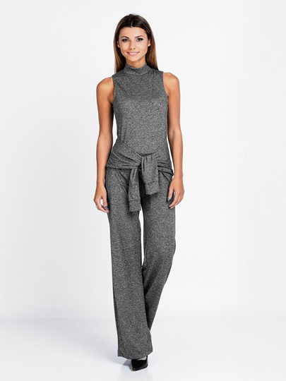 Sleeveless Turtle Neck Gray Lace-Up Women's Jumpsuits