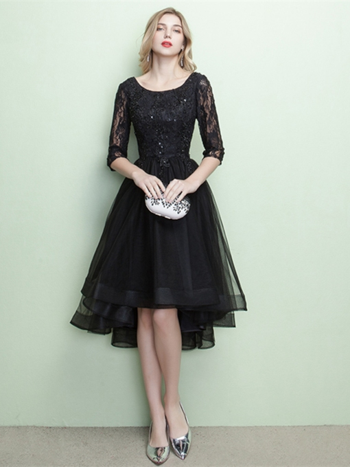 Sequins A-Line Beaded Scoop Half Sleeves Appliques Lace Evening Dress