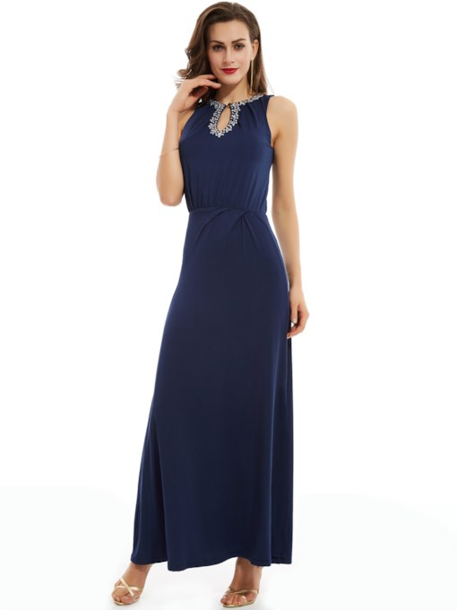 Jewel Sheath Beading Split-Front Long Evening Dress