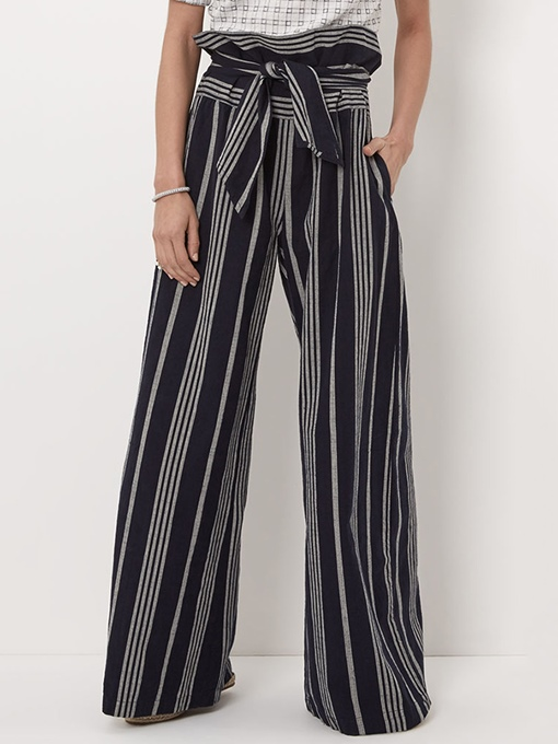 Color Block Stripe Wide Legs Women's Pants