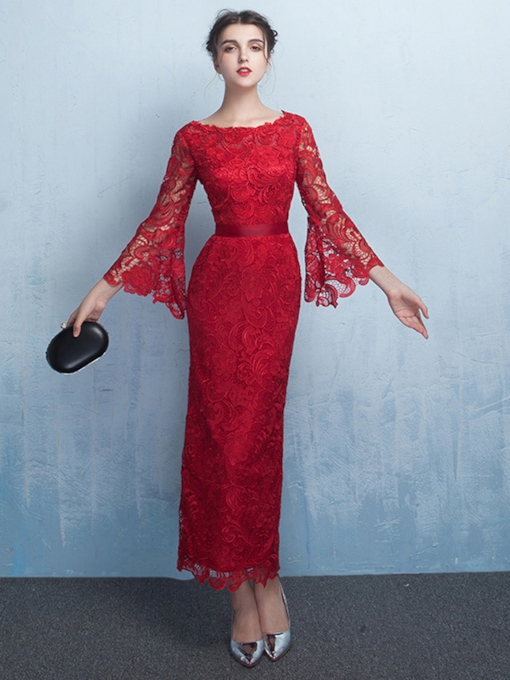 Sheath Lace Tea-Length Evening Dress with Sleeves