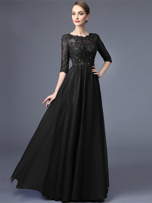A-Line Lace Scoop Appliques Beaded Long Evening Dress