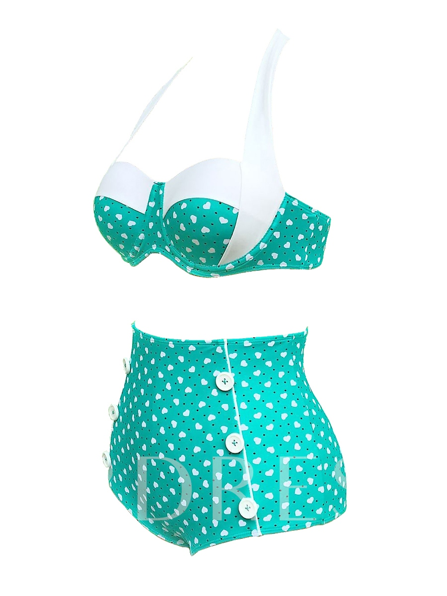 Plain Polka Dots Button Decorated Bikini Set