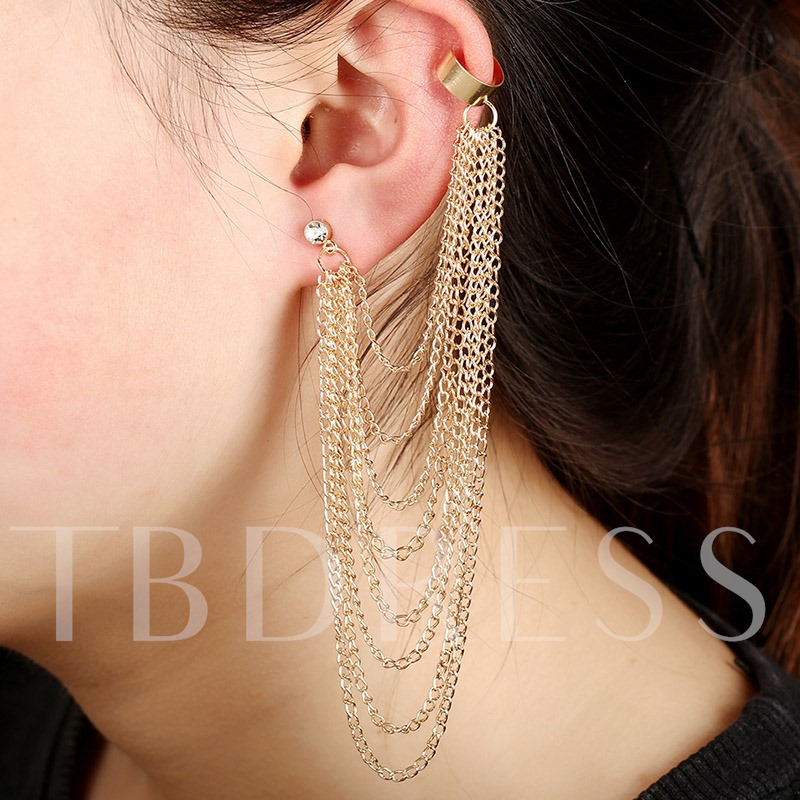 Multilayer Golden Chain Tassels Ear Cuff