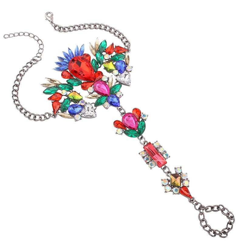 Colorful Artificial Gems Inlaid Alloy Anklet