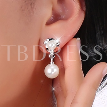 Graceful White Pearls Inlaid Alloy Earrings