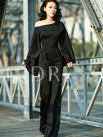 Black Off-Shoulder Bell Sleeve Palazzo Vintage Jumpsuit