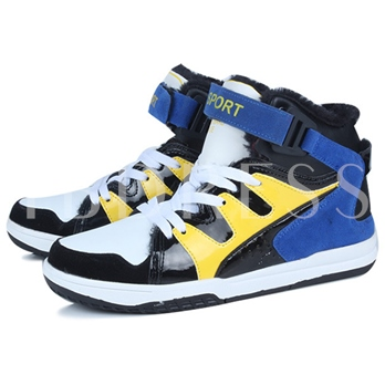Color Block Flat Heel Buckle Men's Sneakers