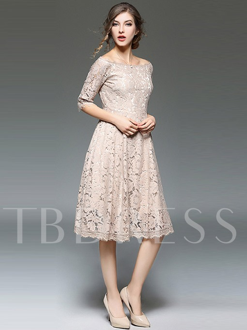 Half Sleeve Slash Neck Women's Lace Dress
