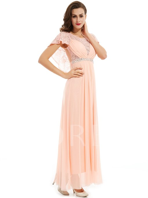 Scoop Neck Beaded Lace A Line Evening Dress