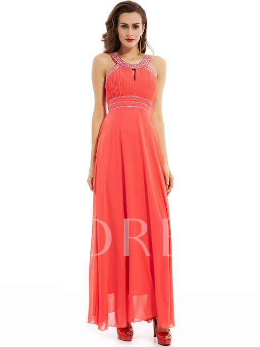 Straps Beaded Pleats A Line Evening Dress
