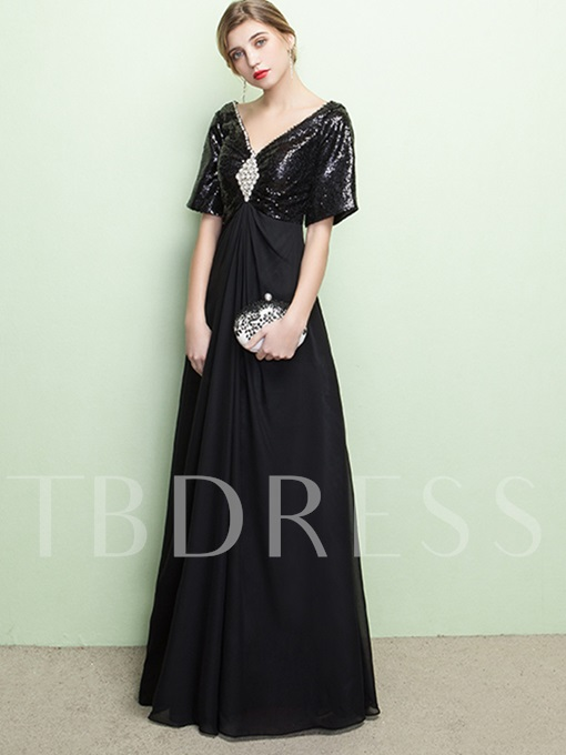 A-Line V-Neck Beading Rhinestone Sequins Evening Dress