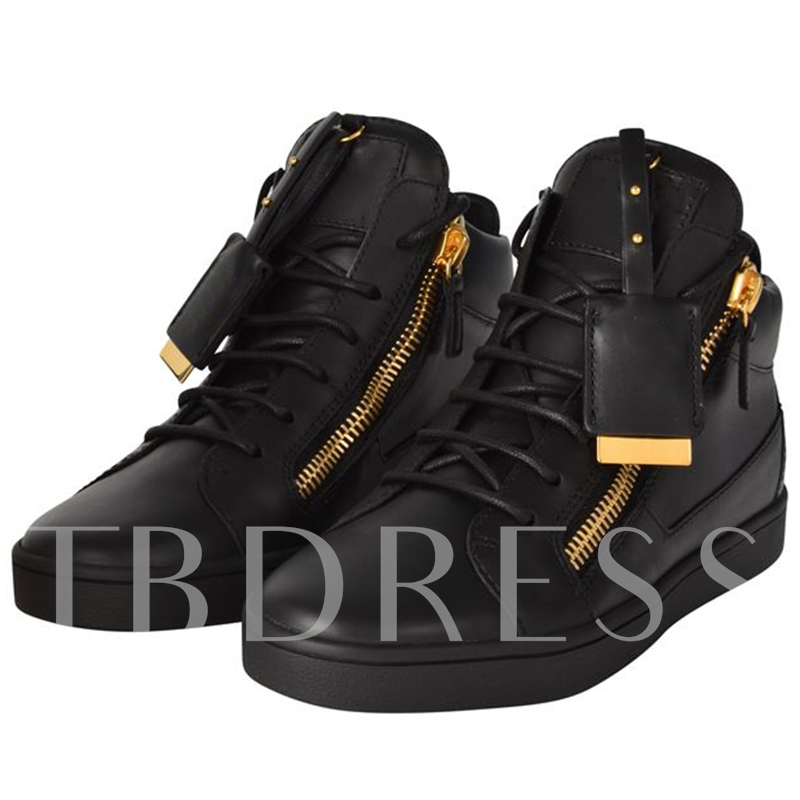 Side Zipper Round Toe Ankle Men's Shoes
