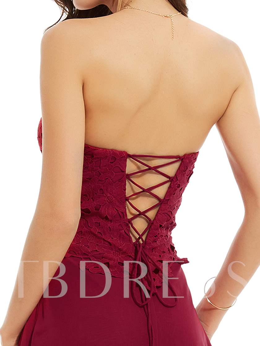 Sweetheart Lace-Up Beaded A Line Evening Dress