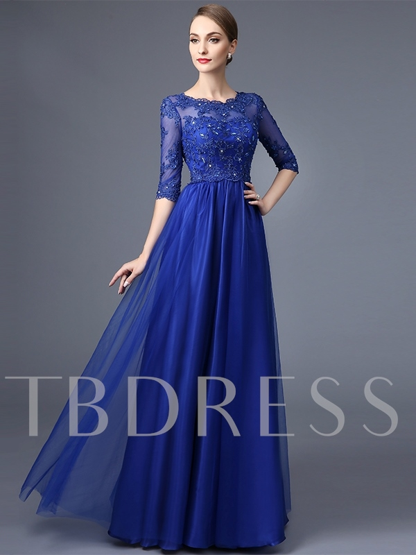 A-Line Round Neck Half Sleeves Appliques Beaded lace Long Evening Dress
