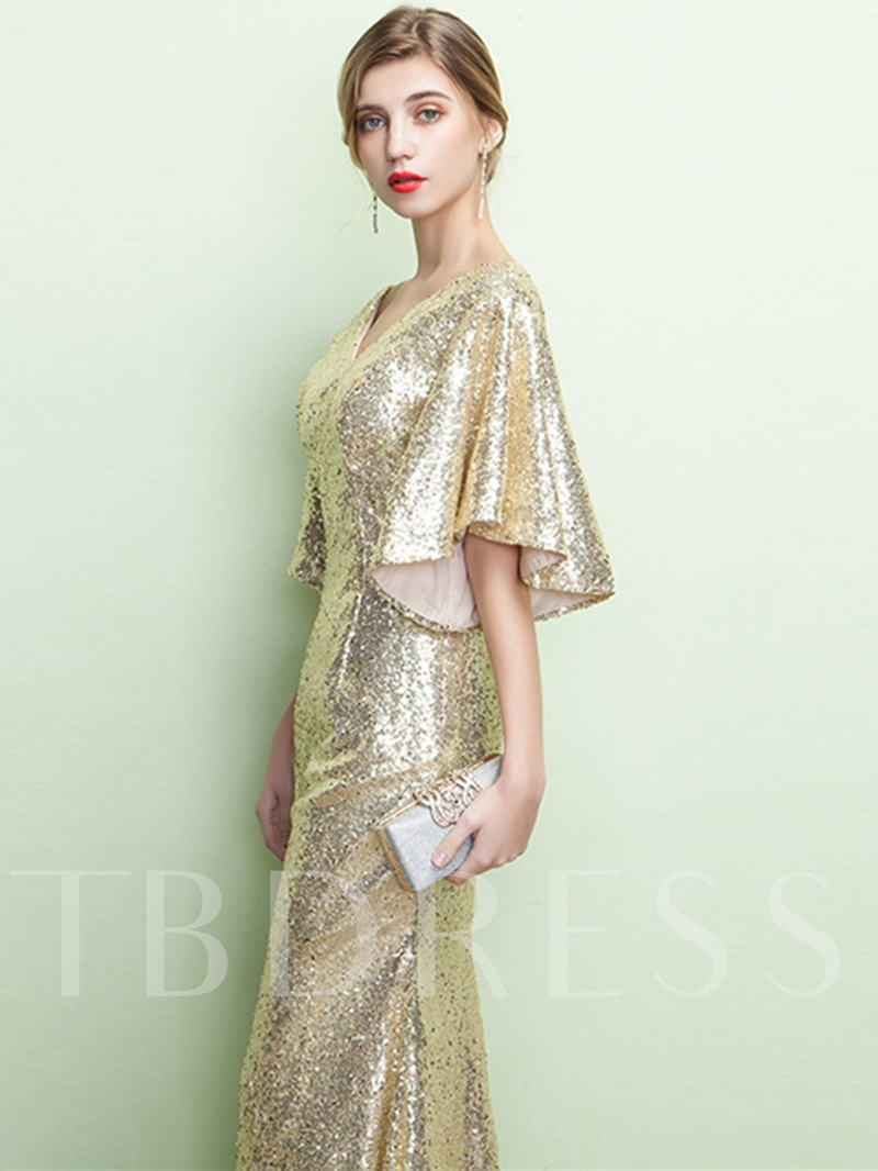 Mermaid V-Neck Short Sleeves Sequins Long Evening Dress