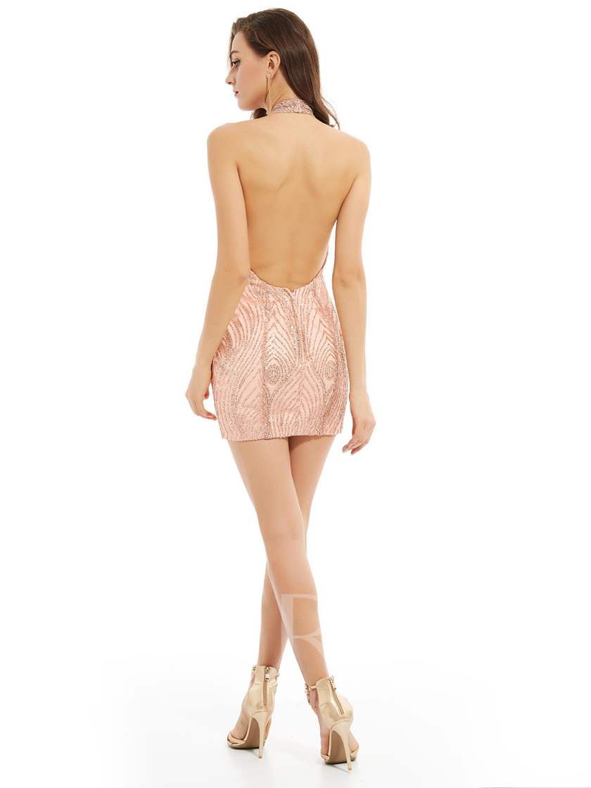 Halter Neck Sheath Backless Sequins Short Cocktail Dress