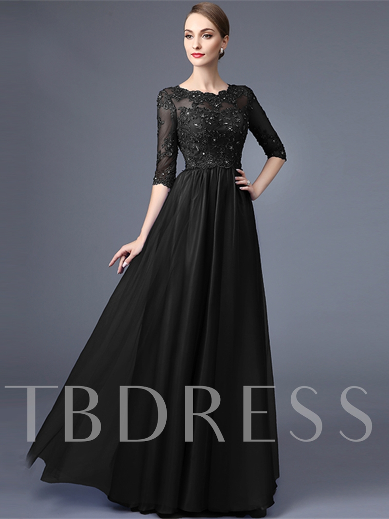 Appliques Beaded Half Sleeves Evening Dress