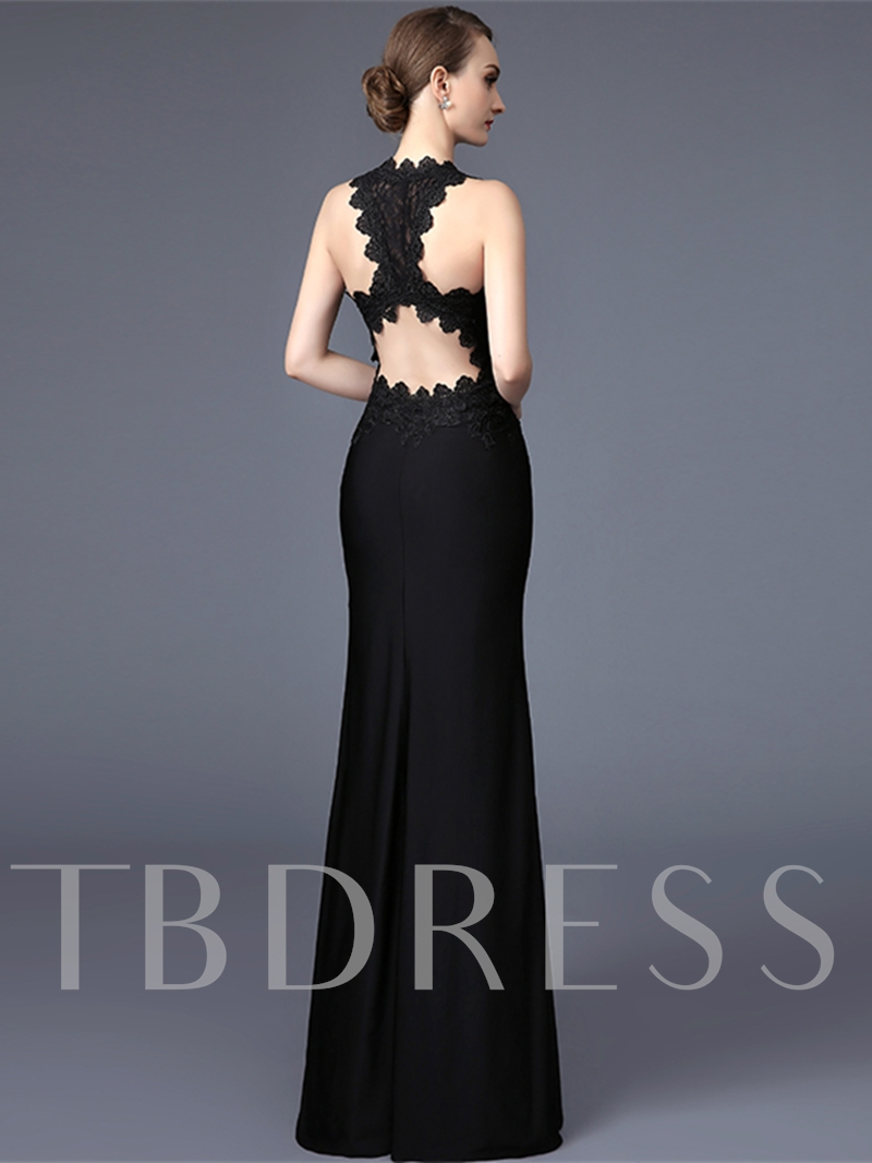 Mermaid Zipper-Up V-Neck Lace Floor-Length Evening Dress