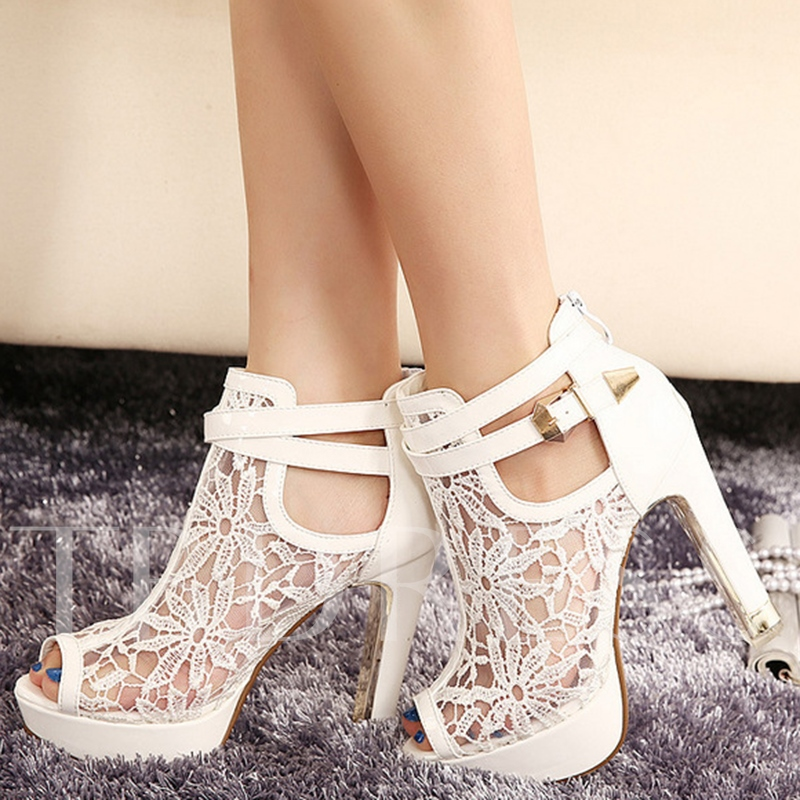 Peep Toe Zipper Patchwork Plain Hollow Buckle Women's Sandals
