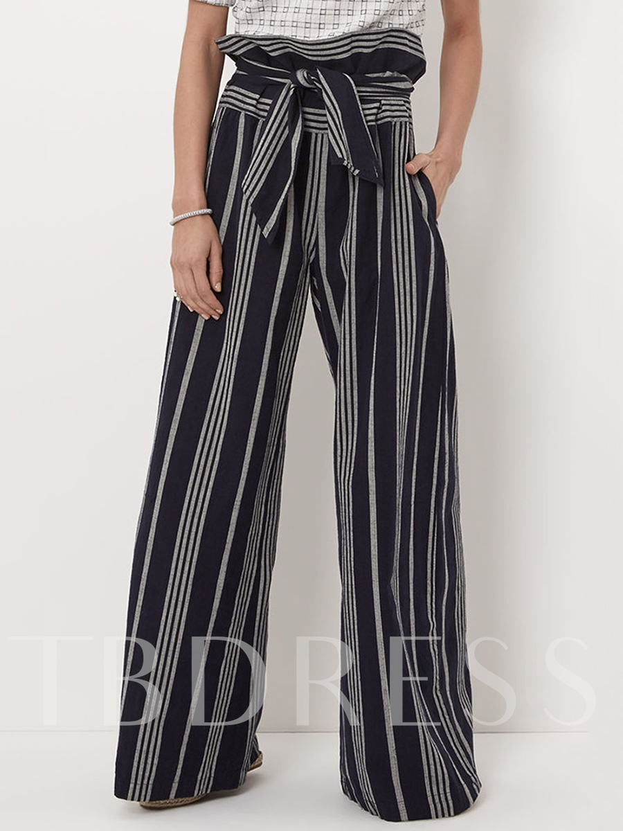 Buy Color Block Stripe Wide Legs Women's Pants, 12718077 for $22.99 in TBDress store